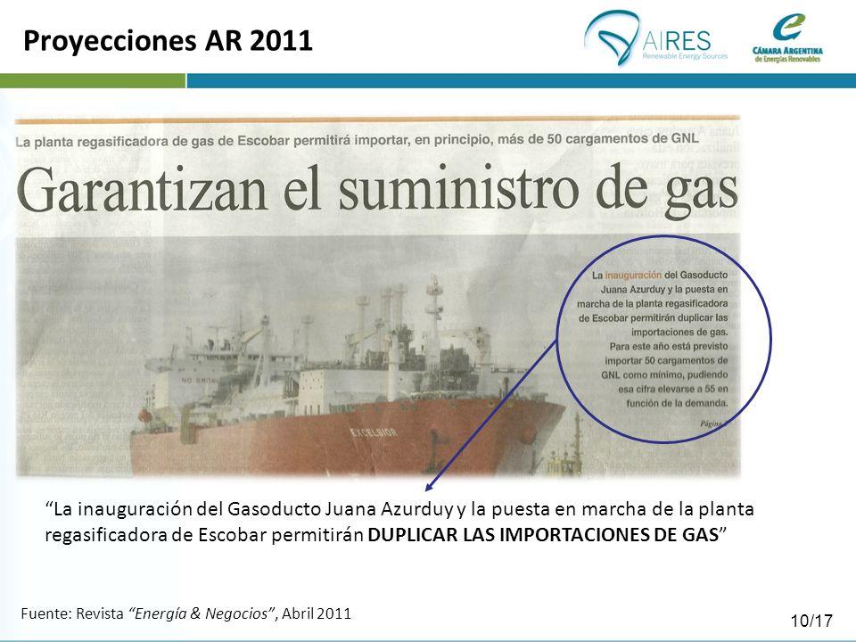Fuente: Revista Energía & Negocios, Abril 2011 Proyecciones AR 2011 La inauguración del Gasoducto Juana Azurduy y la puesta en marcha de la planta regasificadora de Escobar permitirán DUPLICAR LAS IMPORTACIONES DE GAS 10/17