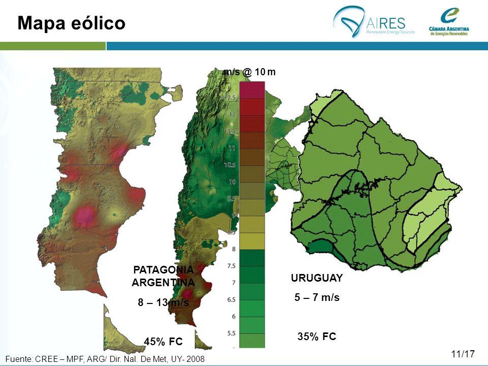 Mapa eólico URUGUAY 5 – 7 m/s 35% FC PATAGONIA ARGENTINA 8 – 13 m/s 45% FC m/s @ 10 m Fuente: CREE – MPF, ARG/ Dir.