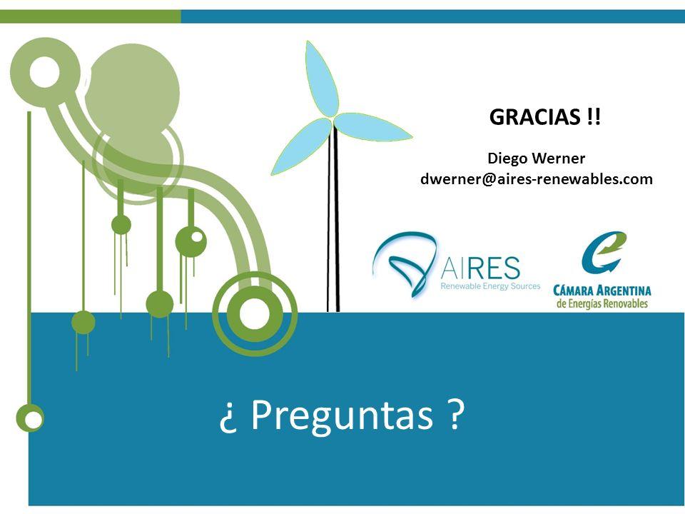 Diego Werner dwerner@aires-renewables.com GRACIAS !! ¿ Preguntas ?