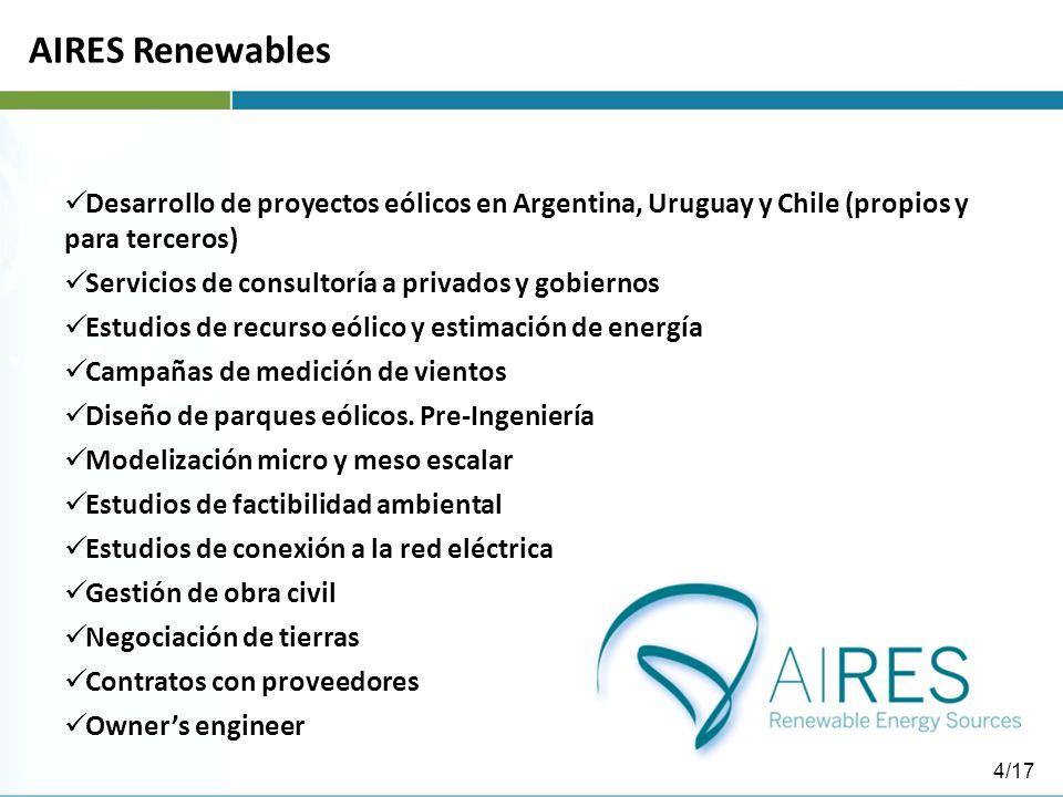 AIRES Renewables Desarrollo de proyectos eólicos en Argentina, Uruguay y Chile (propios y para terceros) Servicios de consultoría a privados y gobiernos Estudios de recurso eólico y estimación de energía Campañas de medición de vientos Diseño de parques eólicos.