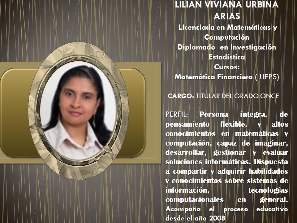 LILIAN VIVIANA URBINA ARIAS Licenciada en Matemáticas y Computación Diplomado en Investigación Estadística Cursos: Matemática Financiera Matemática Fi