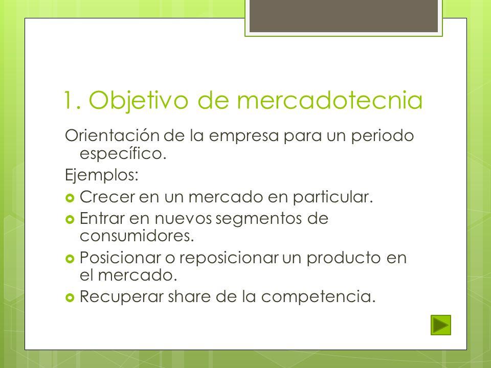 1. Objetivo de mercadotecnia Orientación de la empresa para un periodo específico. Ejemplos: Crecer en un mercado en particular. Entrar en nuevos segm