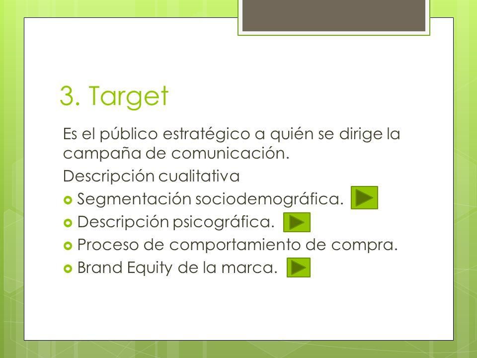 3. Target Es el público estratégico a quién se dirige la campaña de comunicación. Descripción cualitativa Segmentación sociodemográfica. Descripción p
