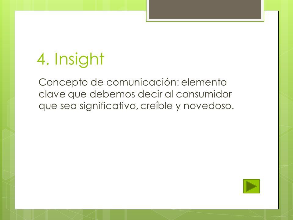 4. Insight Concepto de comunicación: elemento clave que debemos decir al consumidor que sea significativo, creíble y novedoso.