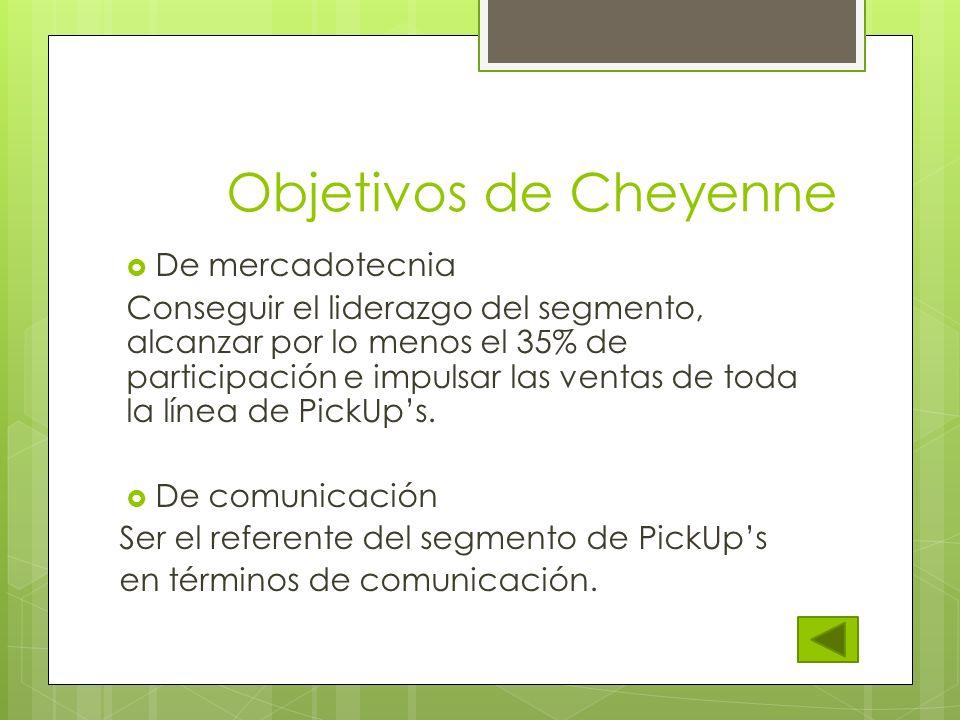 Objetivos de Cheyenne De mercadotecnia Conseguir el liderazgo del segmento, alcanzar por lo menos el 35% de participación e impulsar las ventas de tod