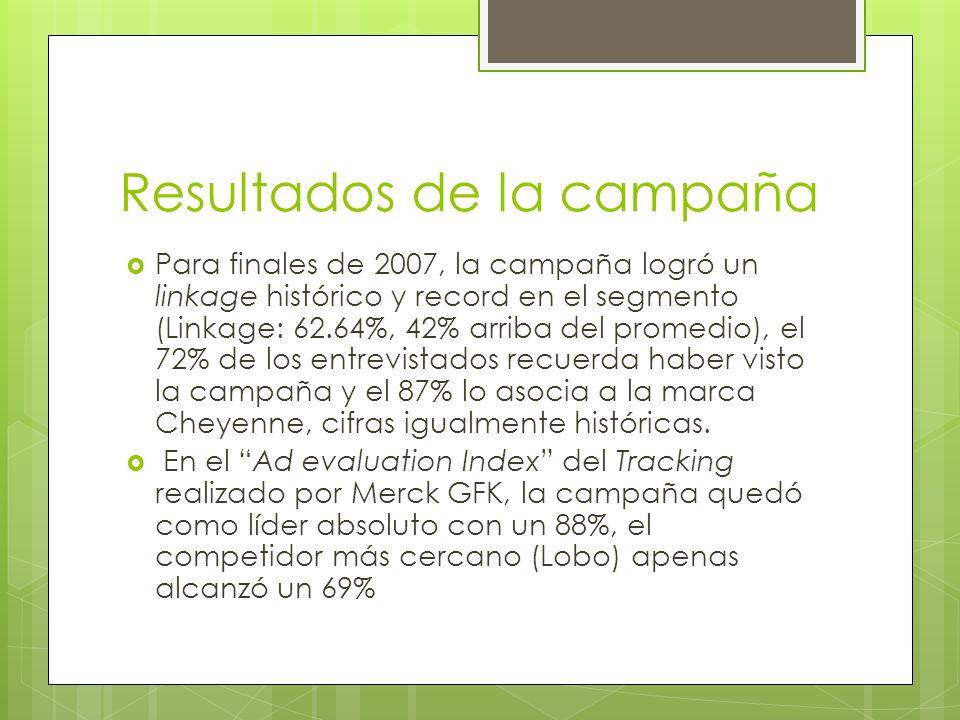 Resultados de la campaña Para finales de 2007, la campaña logró un linkage histórico y record en el segmento (Linkage: 62.64%, 42% arriba del promedio