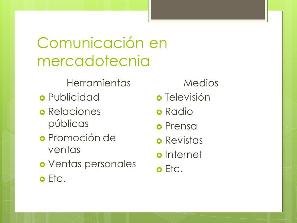 Comunicación en mercadotecnia Herramientas Publicidad Relaciones públicas Promoción de ventas Ventas personales Etc. Medios Televisión Radio Prensa Re