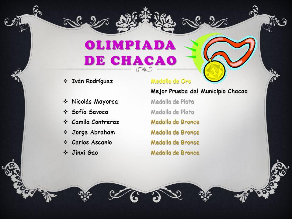 Medalla de Oro Iván Rodríguez Medalla de Oro Mejor Prueba del Municipio Chacao Medalla de Plata Nicolás Mayorca Medalla de Plata Medalla de Plata Sofí