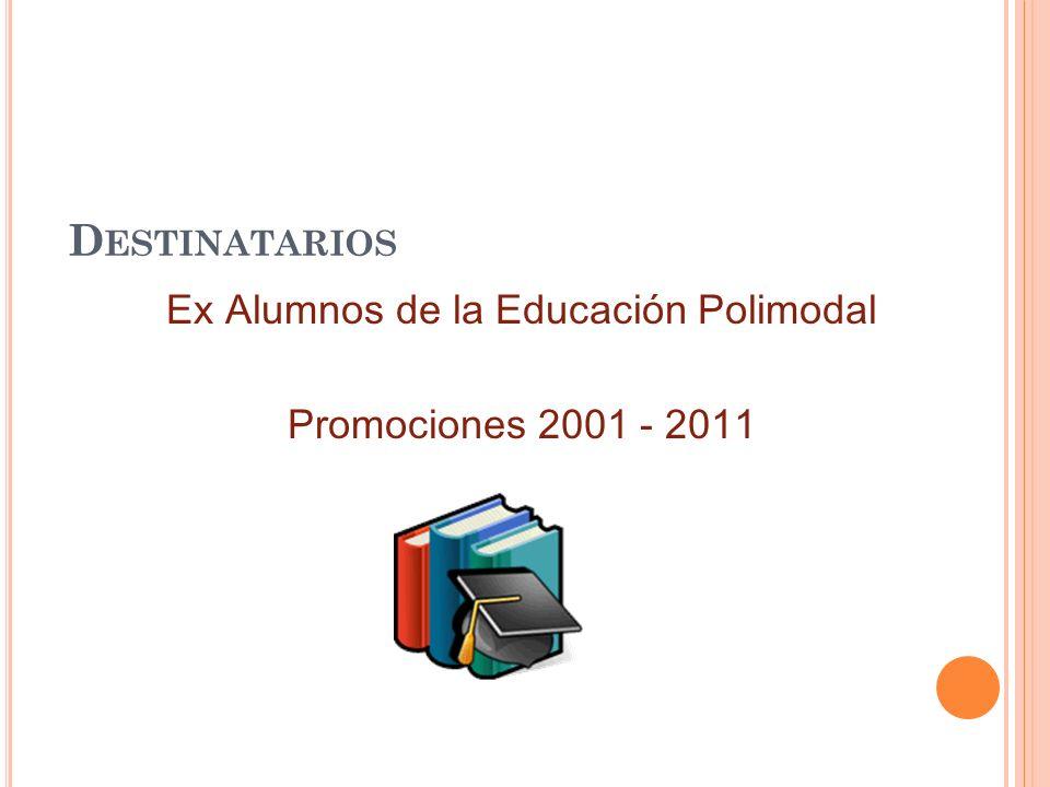 D ESTINATARIOS Ex Alumnos de la Educación Polimodal Promociones 2001 - 2011