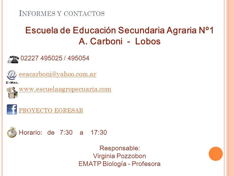 I NFORMES Y CONTACTOS Escuela de Educación Secundaria Agraria Nº1 A.