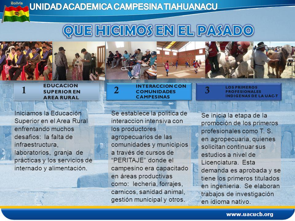 Iniciamos la Educación Superior en el Area Rural enfrentando muchos desafios: la falta de infraestructura, laboratorios, granja de prácticas y los ser
