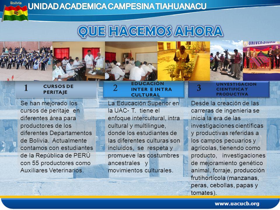Se han mejorado los cursos de peritaje en diferentes área para productores de los diferentes Departamentos de Bolivia. Actualmente contamos con estudi