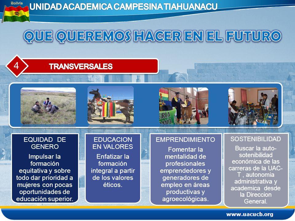 4 EQUIDAD DE GENERO Impulsar la formación equitativa y sobre todo dar prioridad a mujeres con pocas oportunidades de educación superior. EDUCACION EN
