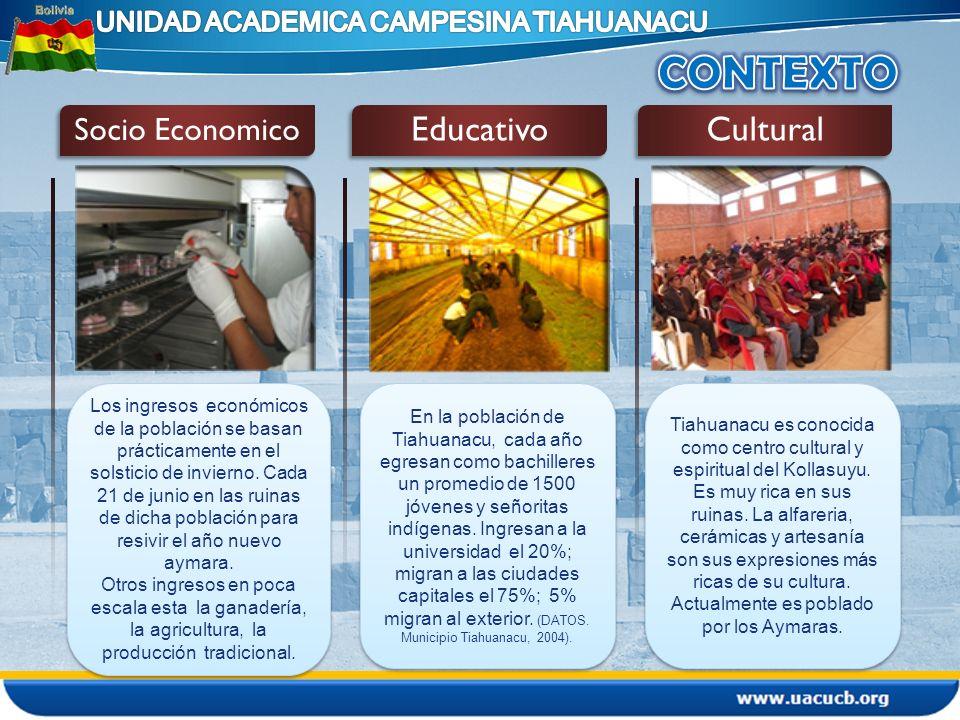 1 La creación de la UAC- Tiahuanacu obedece a la demanda de los campesinos, que exigian para sus hijos una educacion superior en el area Rural.