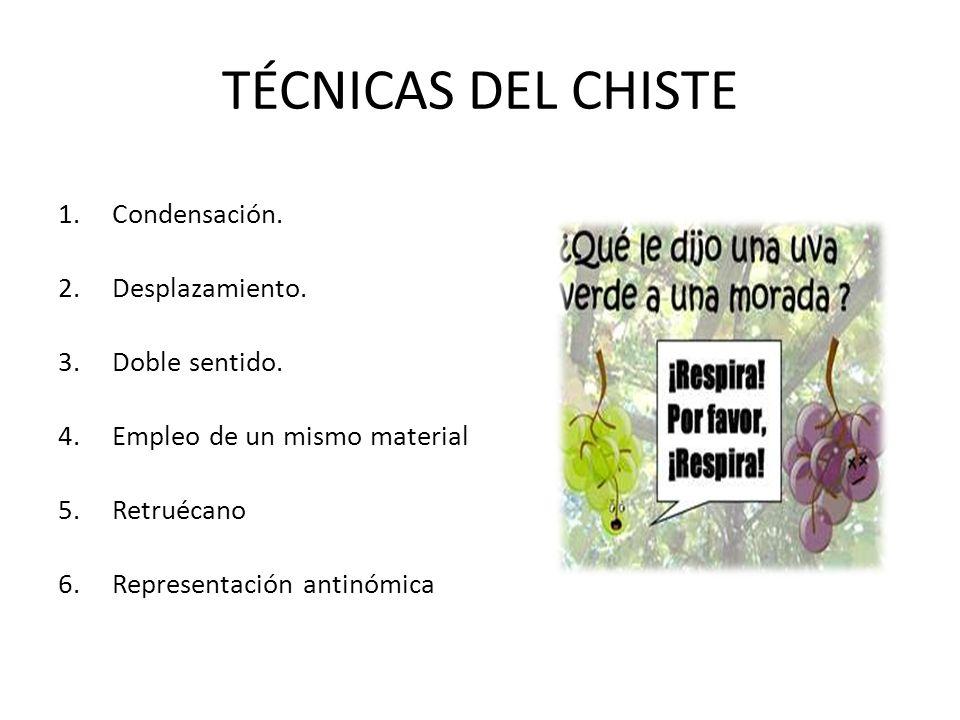 TÉCNICAS DEL CHISTE 1.Condensación. 2.Desplazamiento. 3.Doble sentido. 4.Empleo de un mismo material 5.Retruécano 6.Representación antinómica
