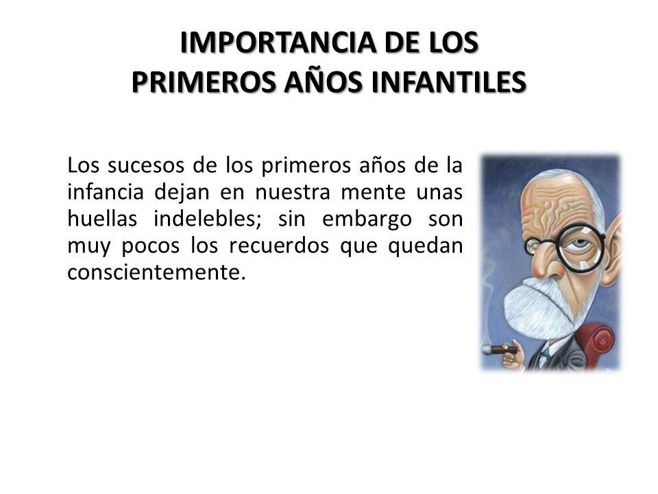 IMPORTANCIA DE LOS PRIMEROS AÑOS INFANTILES Los sucesos de los primeros años de la infancia dejan en nuestra mente unas huellas indelebles; sin embarg