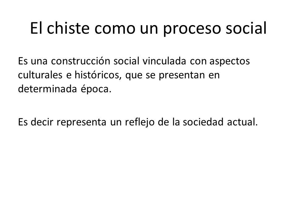 El chiste como un proceso social Es una construcción social vinculada con aspectos culturales e históricos, que se presentan en determinada época. Es
