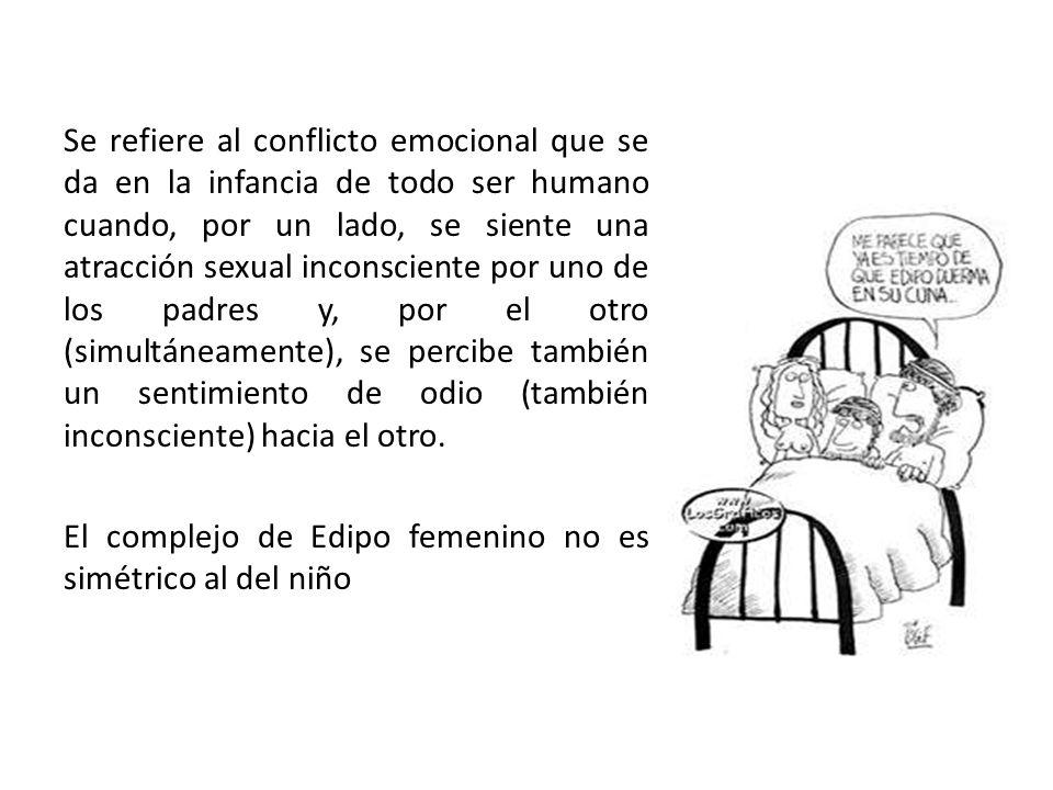 Se refiere al conflicto emocional que se da en la infancia de todo ser humano cuando, por un lado, se siente una atracción sexual inconsciente por uno