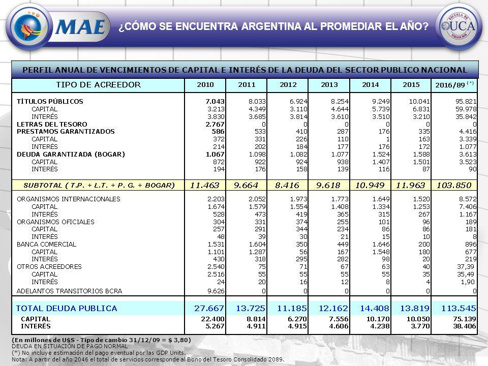 ¿CÓMO SE ENCUENTRA ARGENTINA AL PROMEDIAR EL AÑO? PERFIL ANUAL DE VENCIMIENTOS DE CAPITAL E INTERÉS DE LA DEUDA DEL SECTOR PUBLICO NACIONAL (En millon