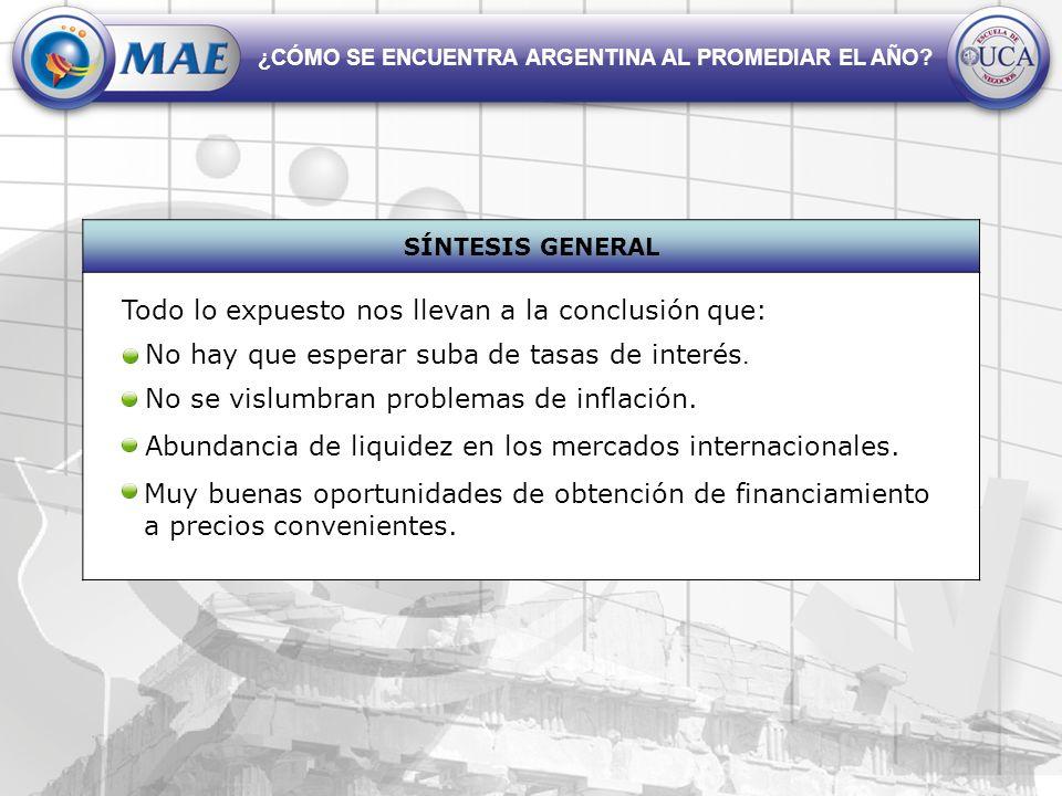 ¿CÓMO SE ENCUENTRA ARGENTINA AL PROMEDIAR EL AÑO? SÍNTESIS GENERAL No hay que esperar suba de tasas de interés. No se vislumbran problemas de inflació