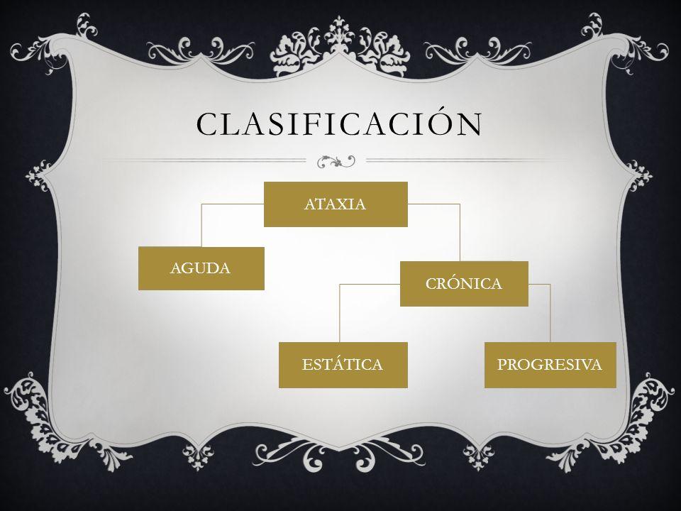 CLASIFICACIÓN ATAXIA AGUDA CRÓNICA PROGRESIVAESTÁTICA