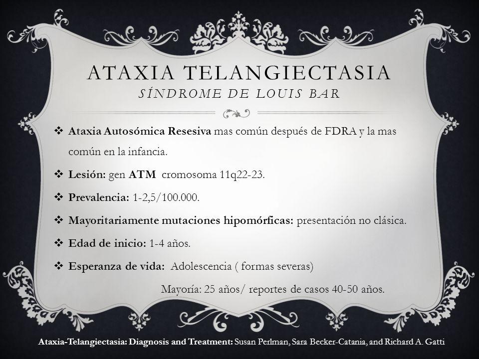 Ataxia Autosómica Resesiva mas común después de FDRA y la mas común en la infancia. Lesión: gen ATM cromosoma 11q22-23. Prevalencia: 1-2,5/100.000. Ma