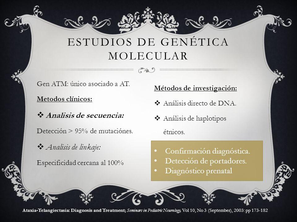 Gen ATM: único asociado a AT. Metodos clínicos: Analisis de secuencia: Detección > 95% de mutaciónes. Analisis de linkaje: Especificidad cercana al 10