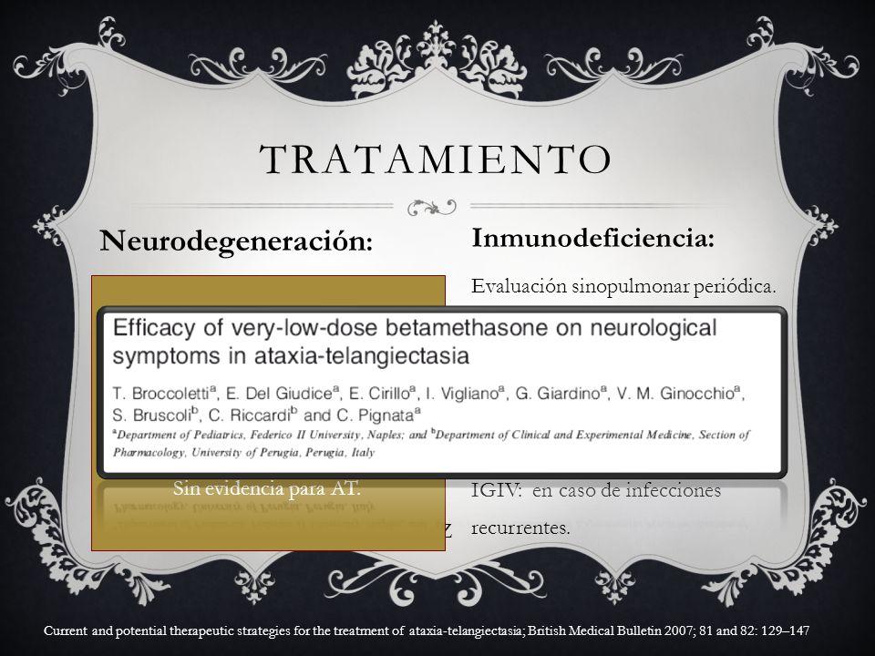 Neurodegeneración : Sin estudios que demuestren cura o desaceleren la progresión. Tratamiento sintomático: L-DOPA, Anticolinérgicos. Equilibrio: amant