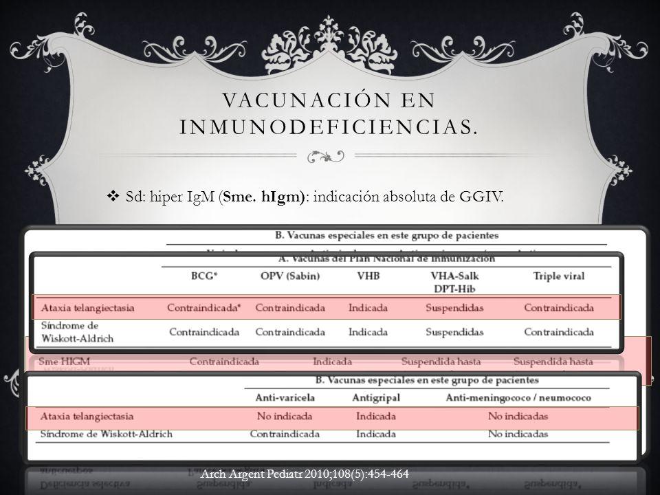 VACUNACIÓN EN INMUNODEFICIENCIAS. Sd: hiper IgM (Sme. hIgm): indicación absoluta de GGIV. Arch Argent Pediatr 2010;108(5):454-464