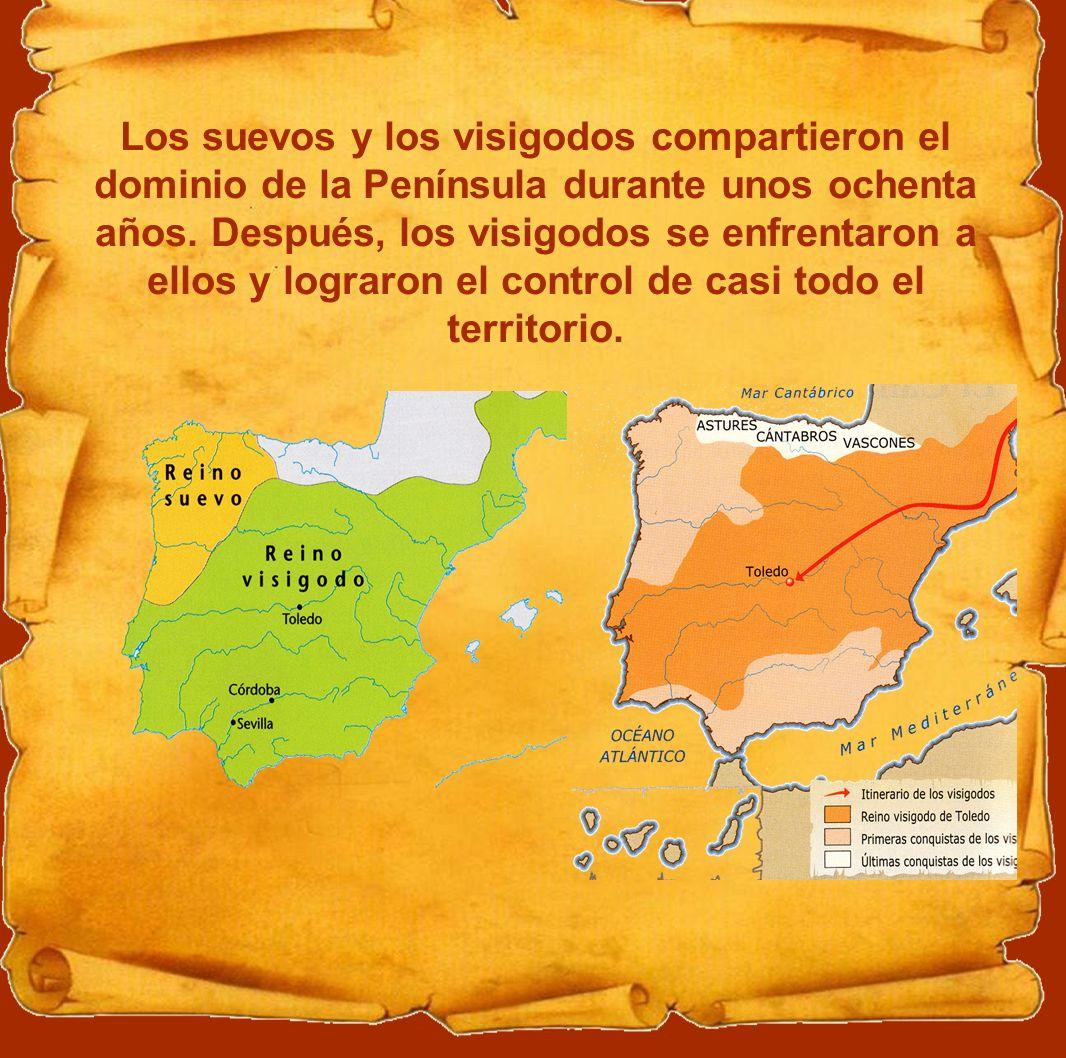 Los suevos y los visigodos compartieron el dominio de la Península durante unos ochenta años. Después, los visigodos se enfrentaron a ellos y lograron
