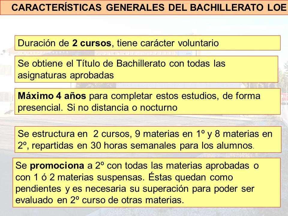 CARACTERÍSTICAS GENERALES DEL BACHILLERATO LOE Duración de 2 cursos, tiene carácter voluntario Se obtiene el Título de Bachillerato con todas las asignaturas aprobadas Máximo 4 años para completar estos estudios, de forma presencial.
