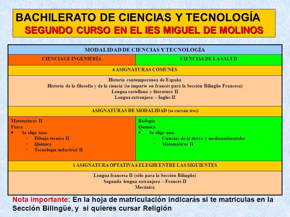 BACHILERATO DE CIENCIAS Y TECNOLOGÍA SEGUNDO CURSO EN EL IES MIGUEL DE MOLINOS MODALIDAD DE CIENCIAS Y TECNOLOGÍA CIENCIAS E INGENIERÍACIENCIAS DE LA