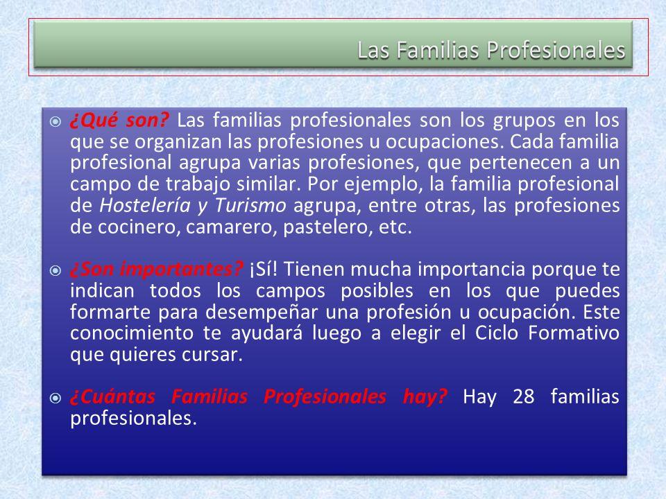 ¿Qué son? Las familias profesionales son los grupos en los que se organizan las profesiones u ocupaciones. Cada familia profesional agrupa varias prof