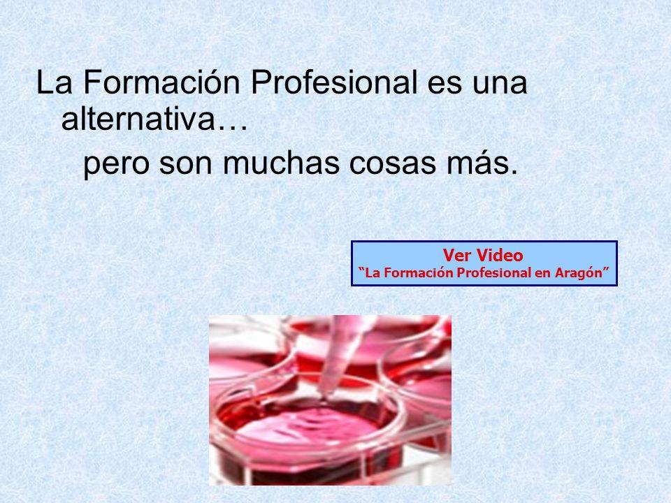 La Formación Profesional es una alternativa… pero son muchas cosas más. Ver Video La Formación Profesional en Aragón