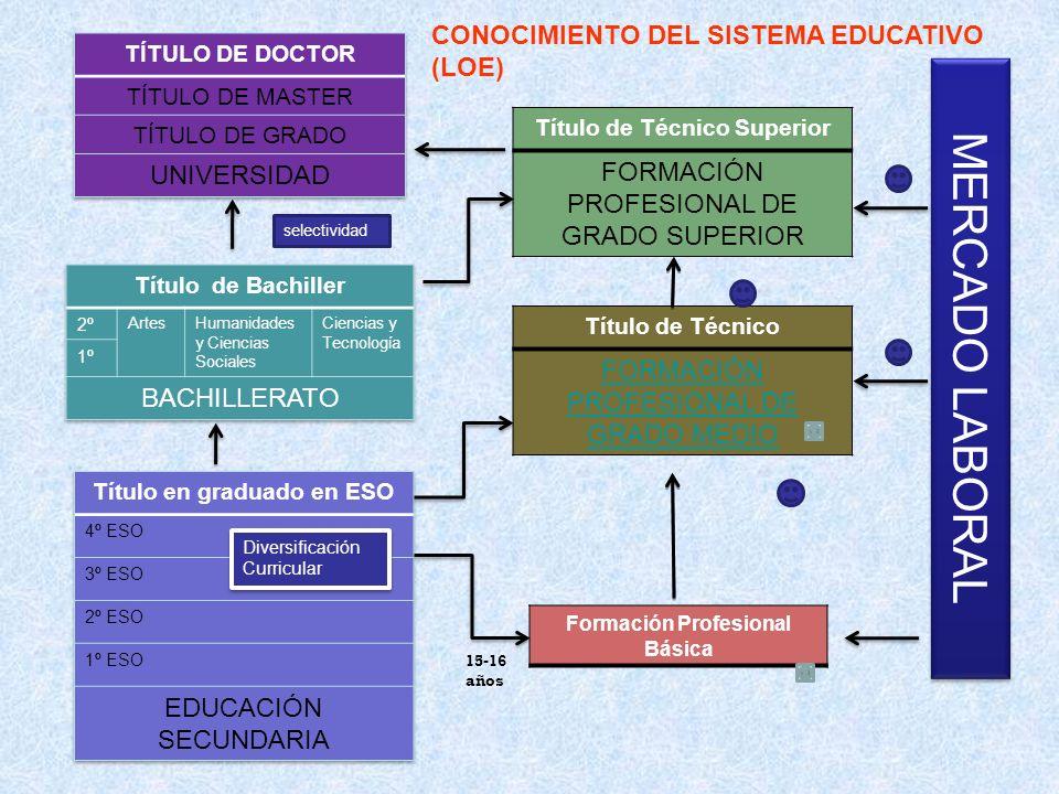 Formación Profesional Básica Título de Técnico FORMACIÓN PROFESIONAL DE GRADO MEDIO Título de Técnico Superior FORMACIÓN PROFESIONAL DE GRADO SUPERIOR
