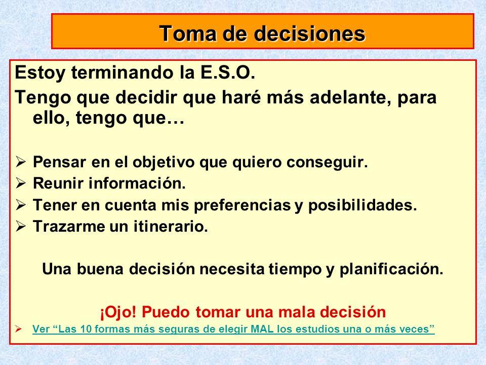 Toma de decisiones Estoy terminando la E.S.O. Tengo que decidir que haré más adelante, para ello, tengo que… Pensar en el objetivo que quiero consegui