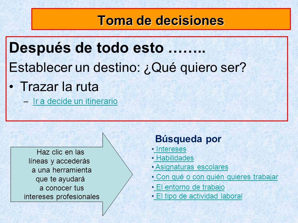 Toma de decisiones Después de todo esto ……..Establecer un destino: ¿Qué quiero ser.