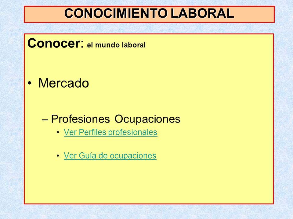Conocer: el mundo laboral Mercado –Profesiones Ocupaciones Ver Perfiles profesionales Ver Guía de ocupaciones CONOCIMIENTO LABORAL