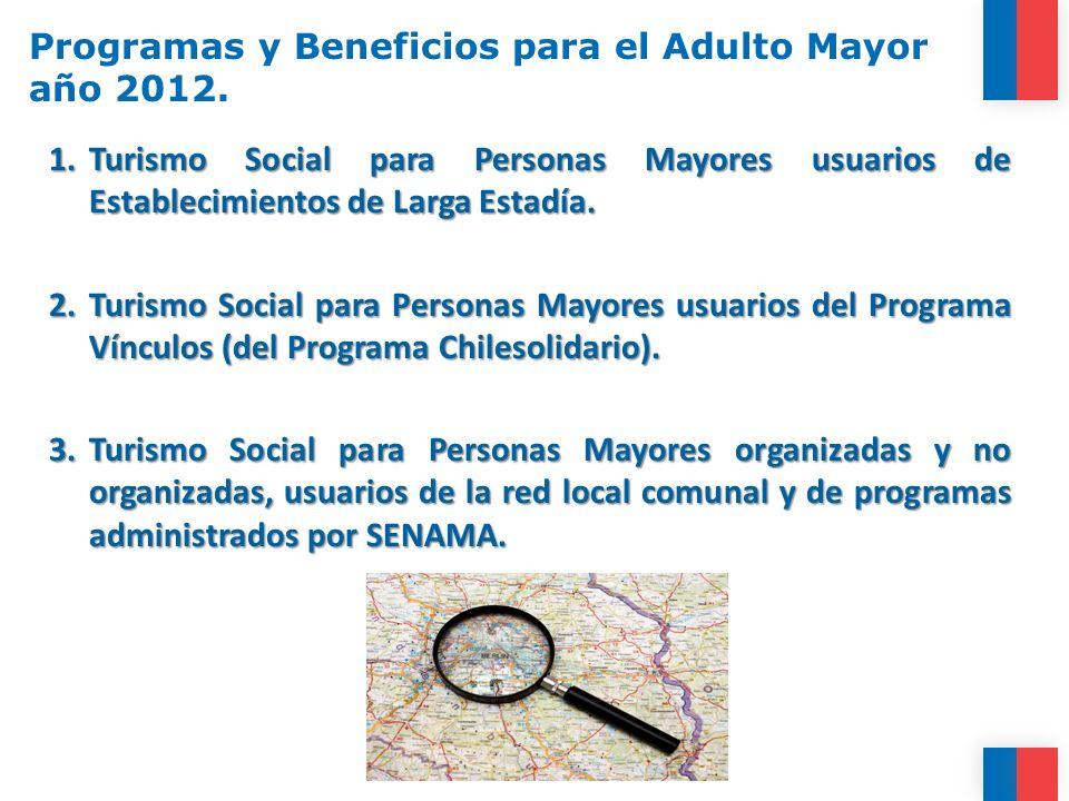 Programas y Beneficios para el Adulto Mayor año 2012. 1.Turismo Social para Personas Mayores usuarios de Establecimientos de Larga Estadía. 2.Turismo