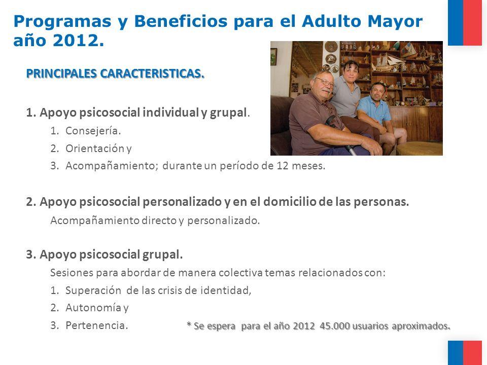 Programas y Beneficios para el Adulto Mayor año 2012. PRINCIPALES CARACTERISTICAS. 1. Apoyo psicosocial individual y grupal. 1.Consejería. 2.Orientaci