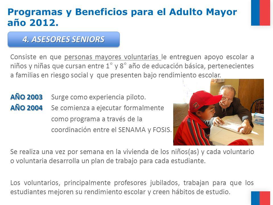 Programas y Beneficios para el Adulto Mayor año 2012. Consiste en que personas mayores voluntarias le entreguen apoyo escolar a niños y niñas que curs