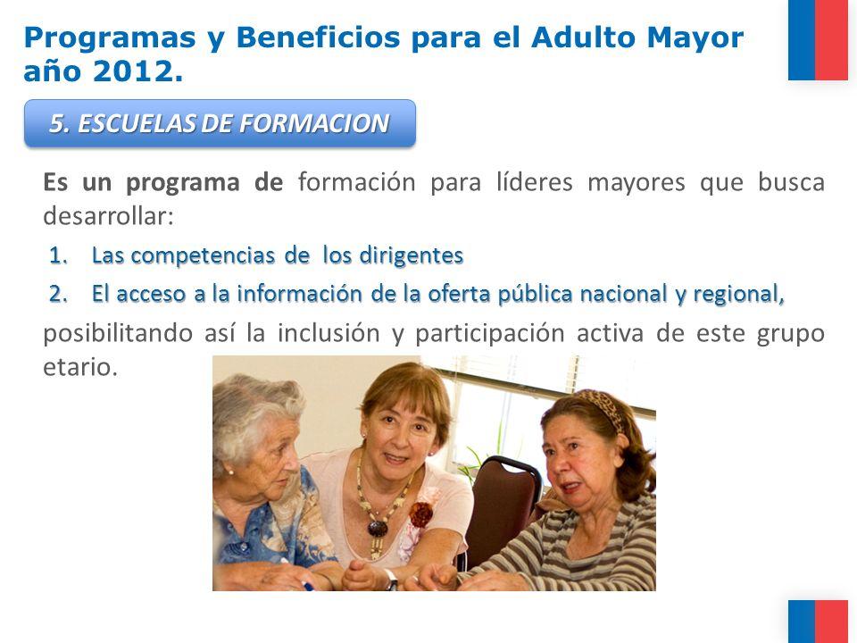 Programas y Beneficios para el Adulto Mayor año 2012. Es un programa de formación para líderes mayores que busca desarrollar: 1.Las competencias de lo