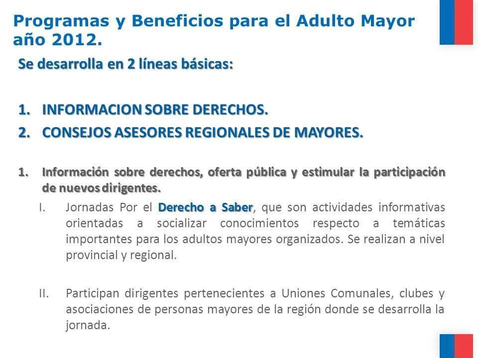 Programas y Beneficios para el Adulto Mayor año 2012. Se desarrolla en 2 líneas básicas: 1.INFORMACION SOBRE DERECHOS. 2.CONSEJOS ASESORES REGIONALES