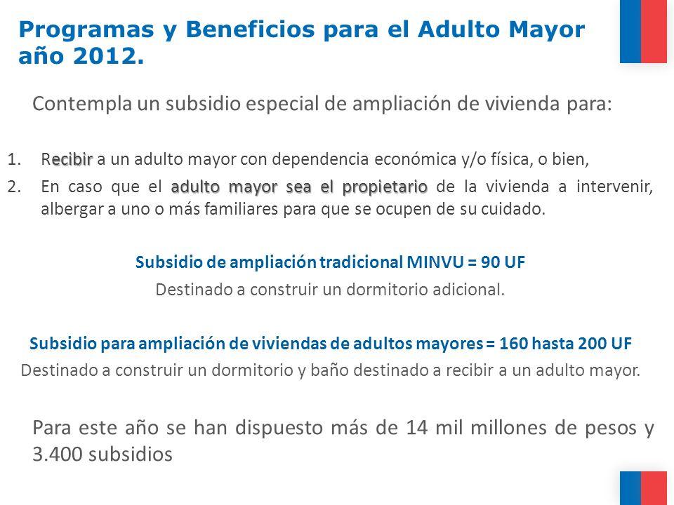 Contempla un subsidio especial de ampliación de vivienda para: ecibir 1.Recibir a un adulto mayor con dependencia económica y/o física, o bien, adulto