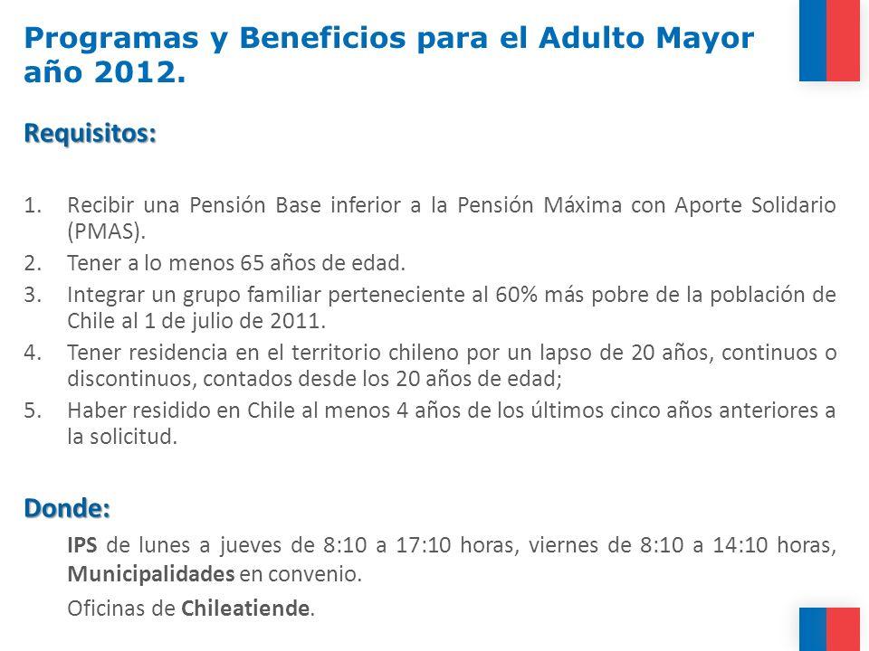 Requisitos: 1.Recibir una Pensión Base inferior a la Pensión Máxima con Aporte Solidario (PMAS). 2.Tener a lo menos 65 años de edad. 3.Integrar un gru