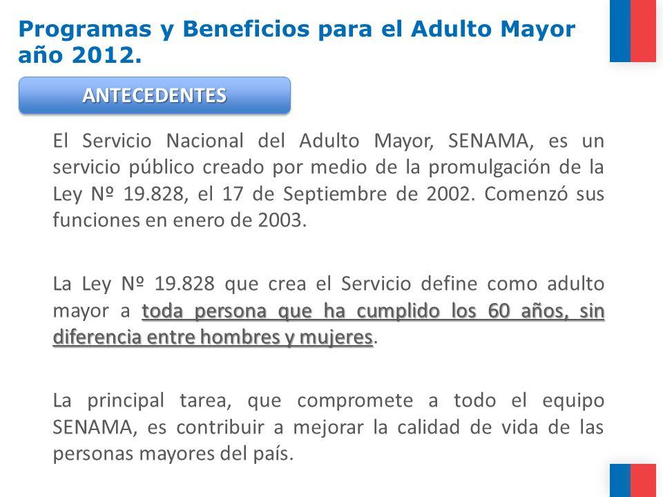 El Servicio Nacional del Adulto Mayor, SENAMA, es un servicio público creado por medio de la promulgación de la Ley Nº 19.828, el 17 de Septiembre de