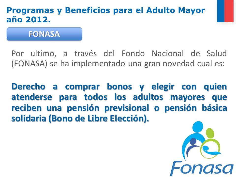 Por ultimo, a través del Fondo Nacional de Salud (FONASA) se ha implementado una gran novedad cual es: Derecho a comprar bonos y elegir con quien aten