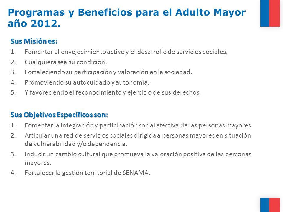 Programas y Beneficios para el Adulto Mayor año 2012. Sus Misión es: 1.Fomentar el envejecimiento activo y el desarrollo de servicios sociales, 2.Cual