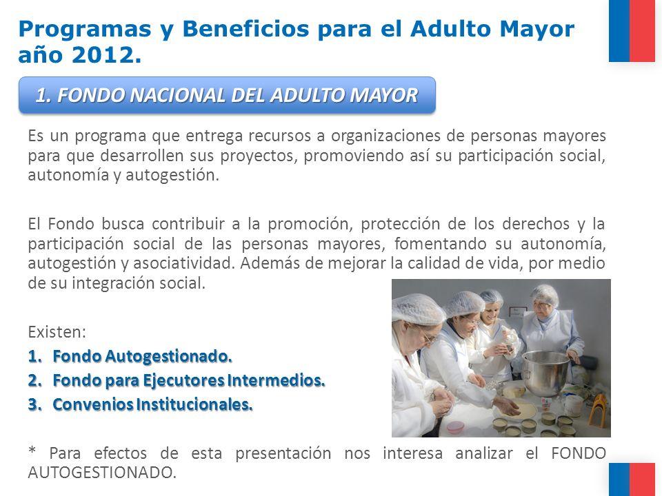 FONDO NACIONAL DEL ADULTO MAYOR AUTOGESTIONADO.objetivo Comienza a operar durante el año 2003.