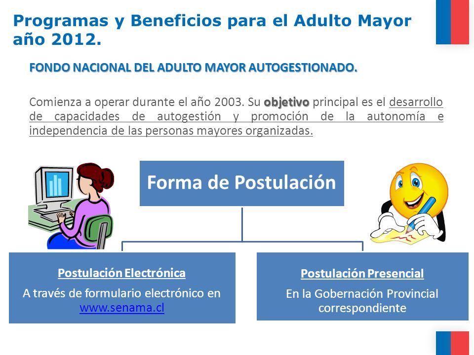FONDO NACIONAL DEL ADULTO MAYOR AUTOGESTIONADO. objetivo Comienza a operar durante el año 2003. Su objetivo principal es el desarrollo de capacidades